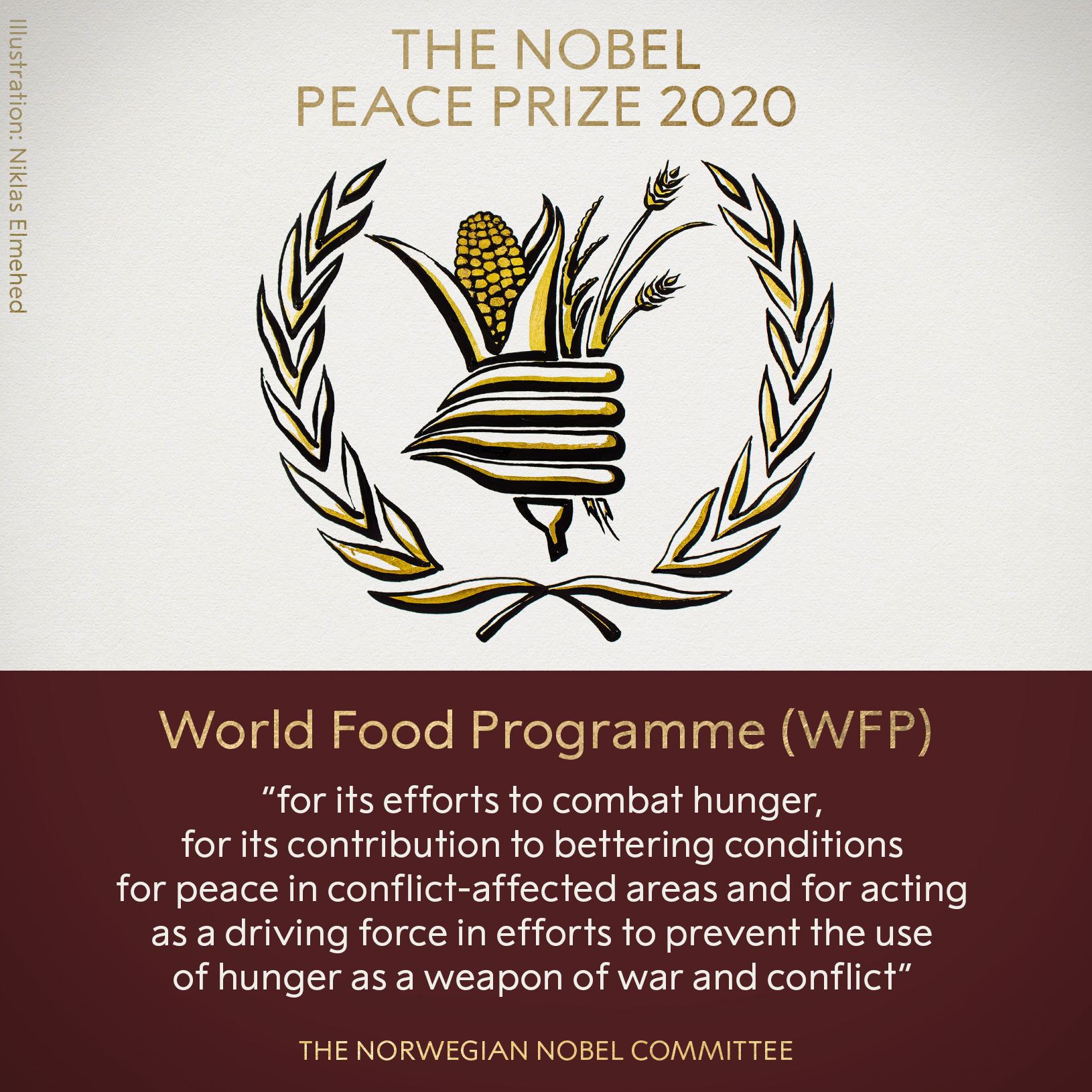 2020 Nobel Peace Prize is awarded to the World Food Programme (WFP)