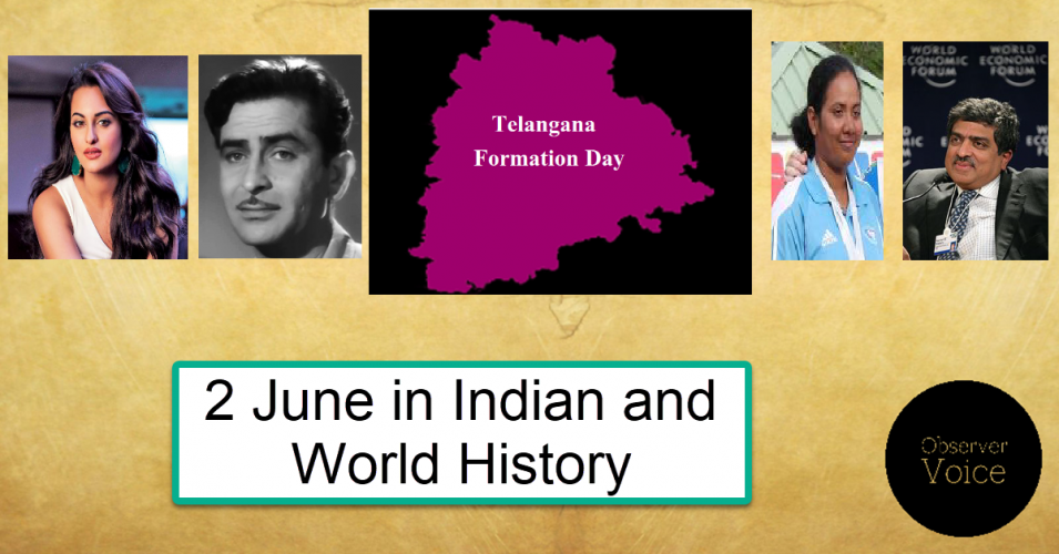 2 June in Indian and World History
