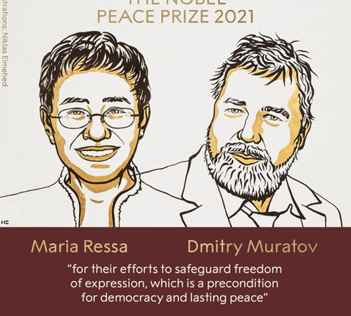 The Nobel Peace Prize 2021 was awarded to Maria Ressa and Dmitry Andreyevich Muratov